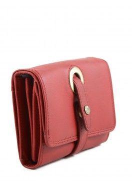 3 coul KATANA Porte feuille porte monnaie avec fermoir en cuir réf 553011 rouge